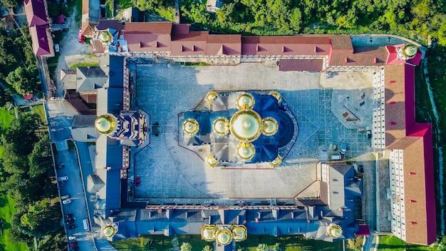 聖シモンの新しいアトス、アブハジア修道院カナン人空撮リゾート町ガグラ、ジョージア州アブハジア