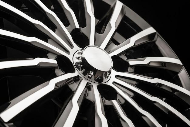 New black aluminum alloy wheel die cast disc close up.