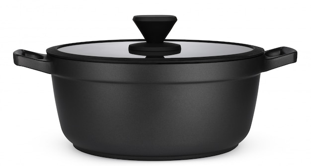 New black saucepan isolated on white
