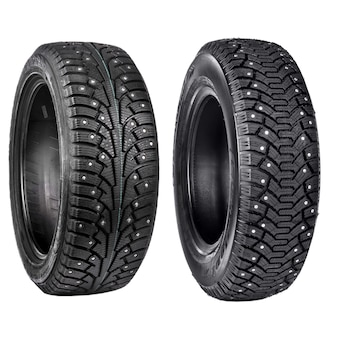 New black tyres for winter car driving isolated
