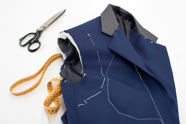 New blue jacket in the process of manufacture