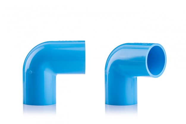New blue pvc connector for water pipe isolated on white