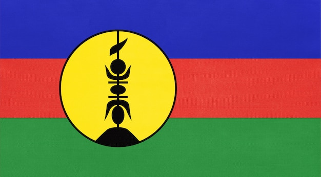 New caledonia island national fabric flag, textile background  symbol of world oceania country