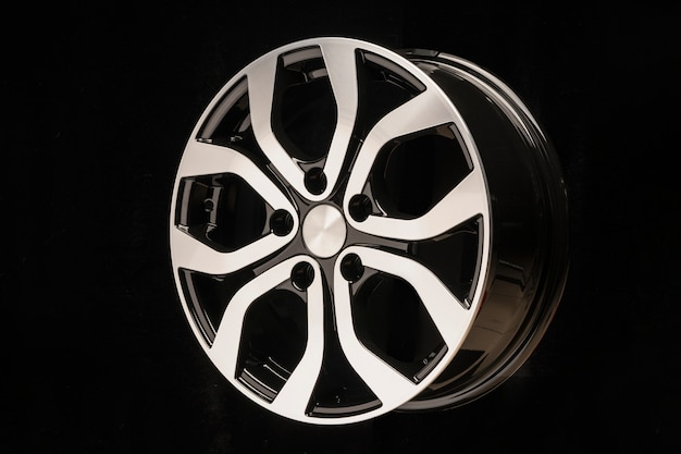 New car alloy wheel, close-up