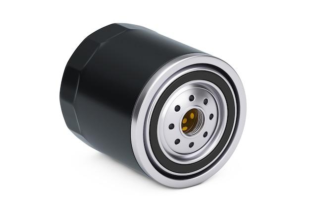 Новый автомобильный масляный фильтр в черном корпусе на белом фоне. 3d рендеринг