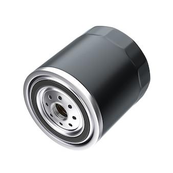 흰색 바탕에 검은색 하우징에 있는 새 자동차 오일 필터. 3d 렌더링