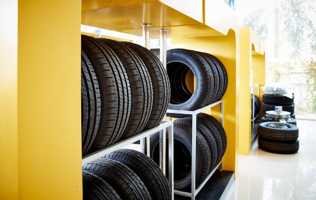 New car tires in a row
