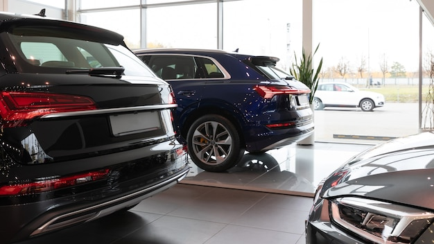 New cars in the dealership luxury suvs