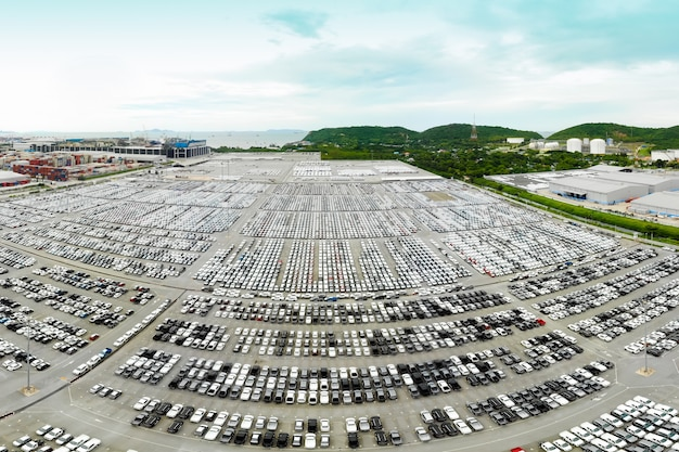 New cars produced several times a year at industrial estate for import export around in the world