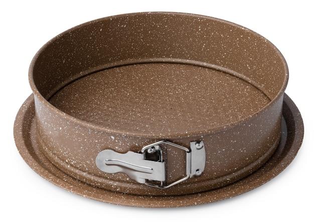 白い背景で隔離の新しいセラミックベーキング皿