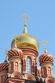 New church with gilded domes in the city of astrakhan