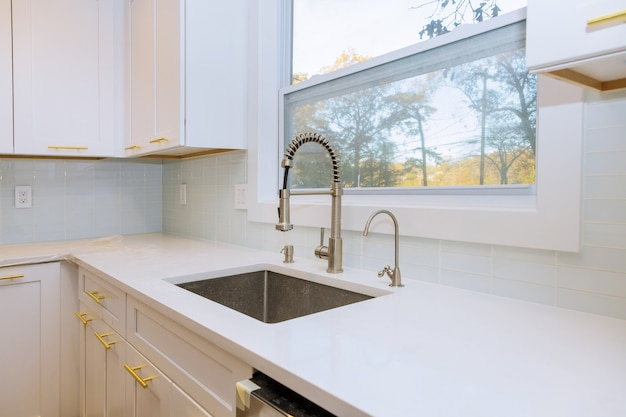 New classic kitchen in modern style with new sink