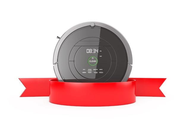 新しい洗浄技術の概念。白い背景の上のあなたのデザインのための空白の赤いリボン付きのスマートロボット掃除機3dレンダリング