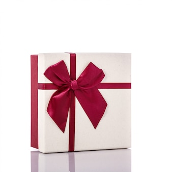 New color gift box with ribbon.