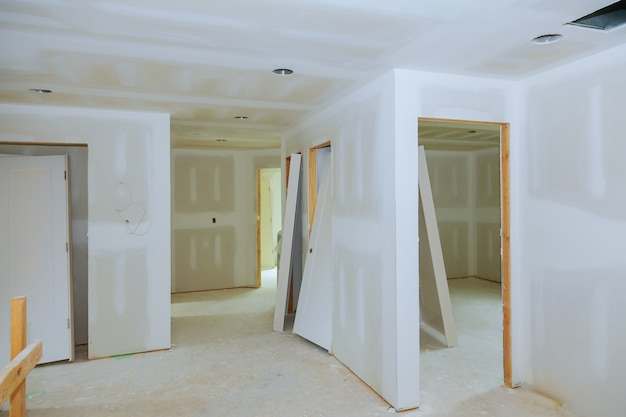 New construction of drywall plasterboard interior room