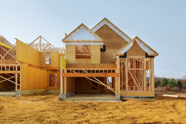 New construction of a house framed new construction of a house building