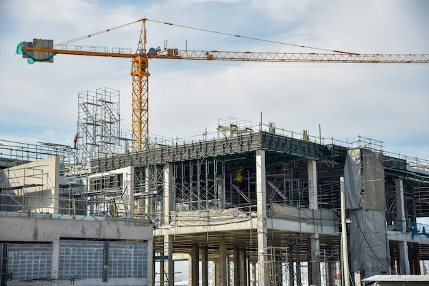 A new construction site with tower crane