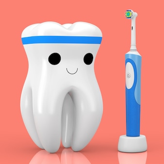 New electric toothbrush on a charge stand near cute healthy white cartoon toy tooth character person on a pink background. 3d rendering