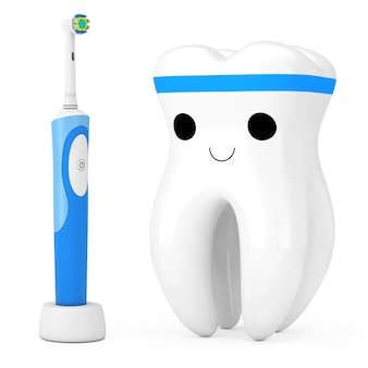 New electric toothbrush on a charge stand near cute healthy white cartoon toy tooth character person on a white background. 3d rendering