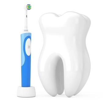 흰색 바탕에 큰 흰색 치아 근처 충전 스탠드에 새 전동 칫솔. 3d 렌더링