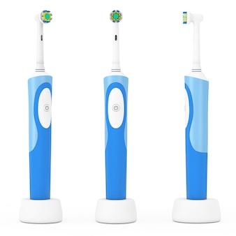 Новая электрическая зубная щетка на зарядной стойке на белом фоне. 3d рендеринг