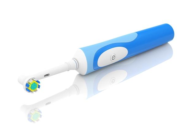 Новая электрическая зубная щетка на белом фоне. 3d рендеринг
