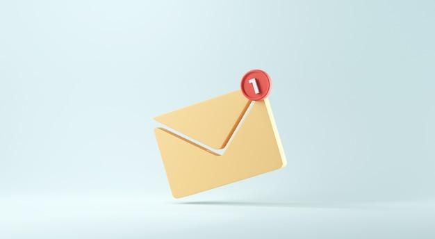 明るい青の背景に 1 つの新しいメッセージが表示された新しいメール通知アイコン