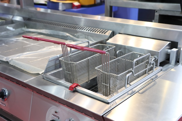 New empty modern professional fryer basket