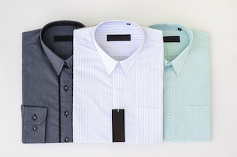 New folded and pressed men's dress shirts