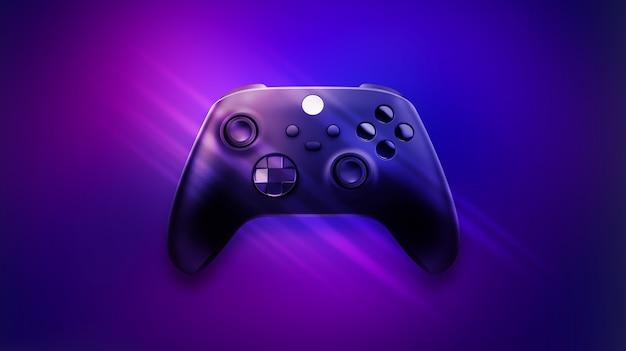 Игровой контроллер нового поколения на синем и розовом фоне
