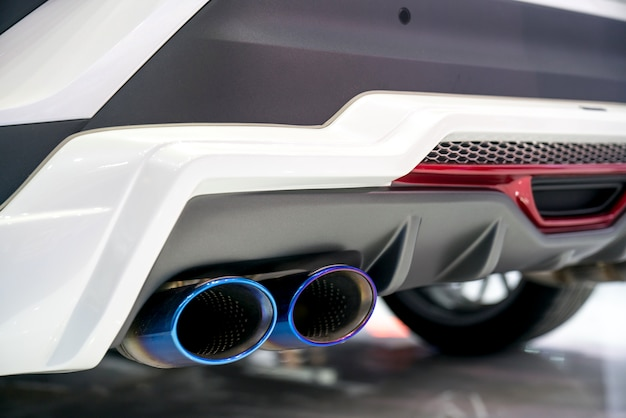 New generation of sportive mufflers. oval car exhaust tailpipe chromed made