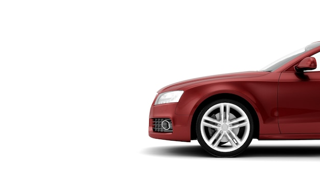 New generic luxury red detail sports car illustration isolated on a white surface