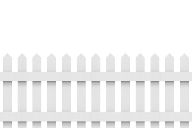 New gray wooden fence with clipping path.