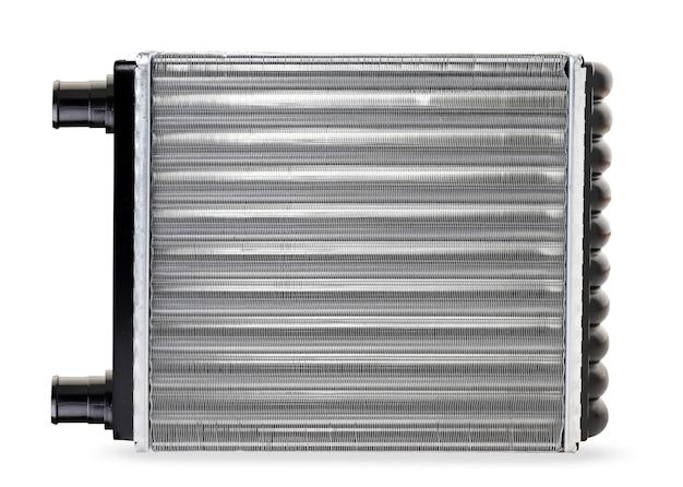 Новый радиатор отопителя для автомобиля крупным планом на белом фоне, изолированные. радиатор печки вид сверху