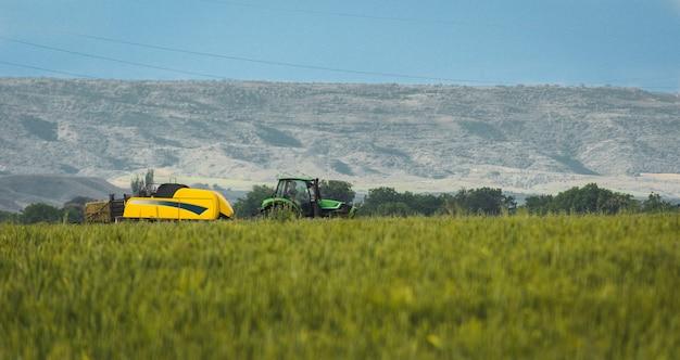 ニューホランドコンバインハーベスターが晴れた日に麦畑で作業