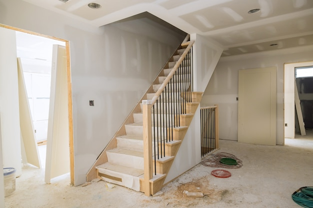 New home installing material for repairs in an apartment