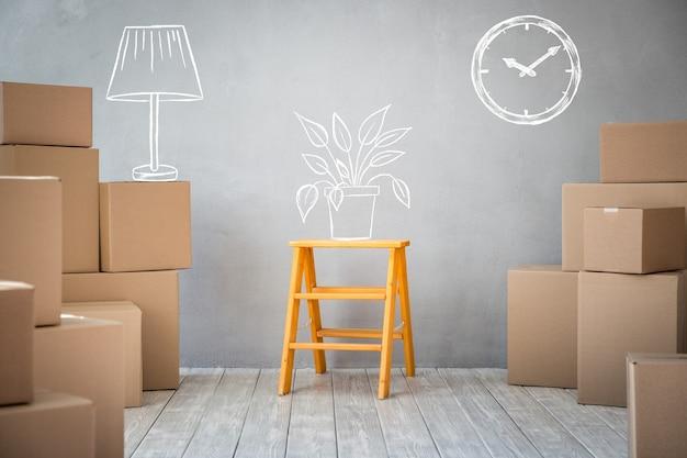 新しい家、引っ越しの家の日と不動産のコンセプト