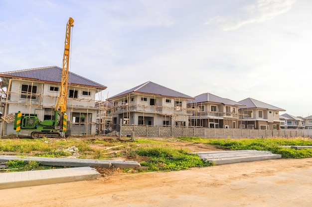 New house building at residential estate construction site
