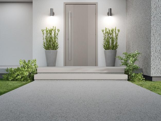 木製のドアの入り口と空のコンクリートの通路のある新しい家