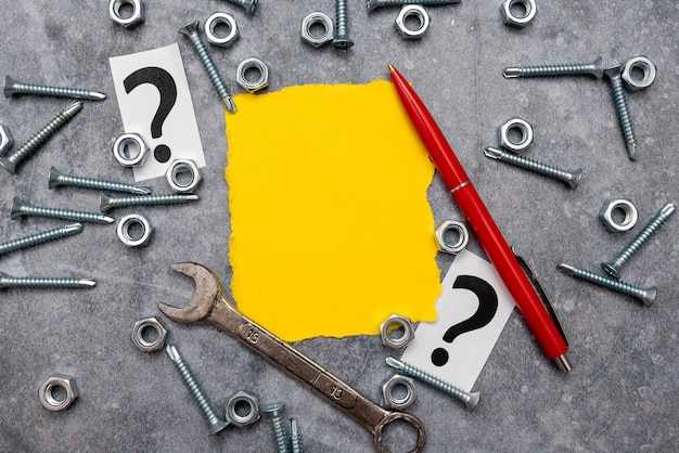 New ideas, brainstoming for maintenance planning, repairing solutions, construction project, creative thinking nut and bolts pattern, toolbox implements