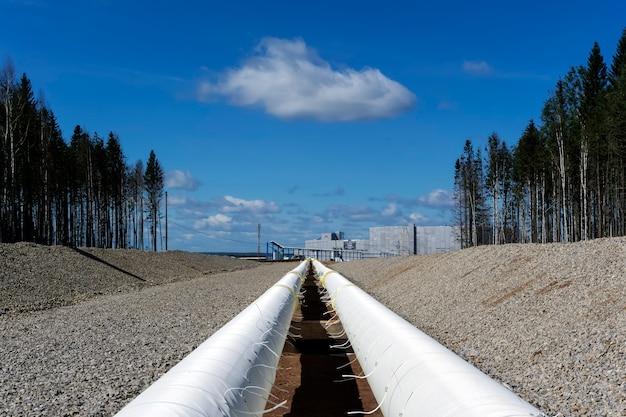 Новый промышленный трубопровод с теплоизоляцией, ведущий к промышленному предприятию