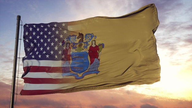 깃대에 뉴저지와 미국 국기입니다. 미국 및 뉴저지 혼합 된 플랙 손 흔드는 바람