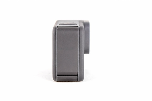 New k action camera in black color isolated white background
