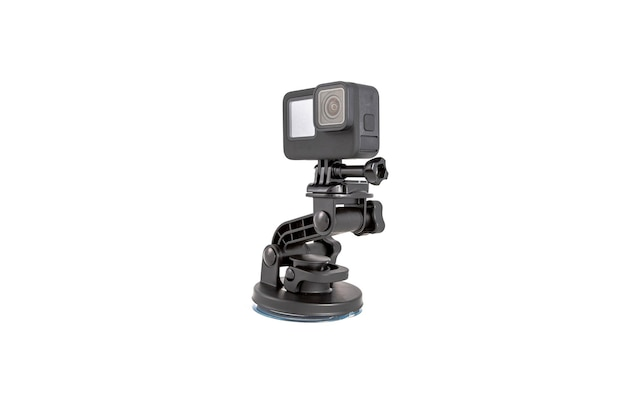 New k action camera on a suction mount in black color isolated white background