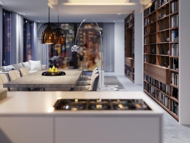 현대식 주방의 새로운 주방 가전, 매달린 후드 및 새로운 조리 표면. 3d 렌더링.