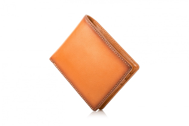 New leather brown men wallet isolated on white
