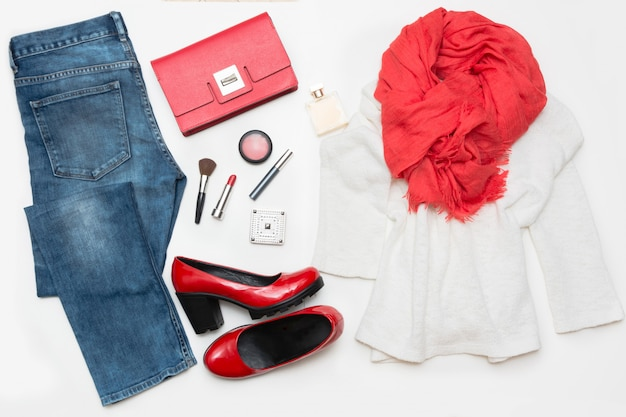 New look for beautiful fashionable woman in flat lay