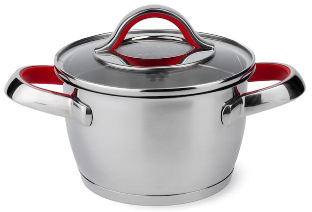 白い背景で隔離の新しい金属鍋
