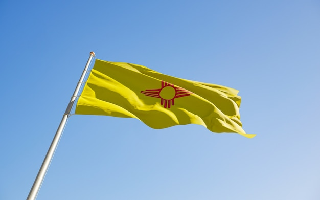 New mexico us state flag low angle