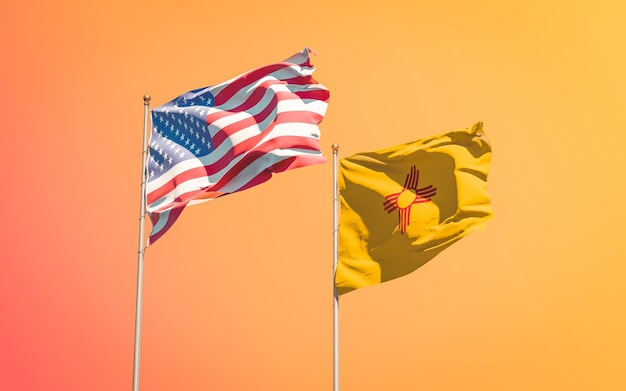 New mexico us state flags at gradient sky